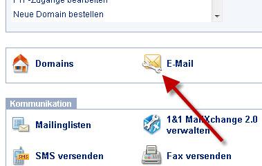 Mailverwaltung bei 1und1