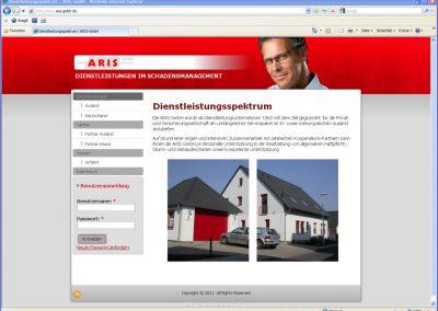 Webseite für die ARIS GmbH – Dienstleistungen im Schadensmanagement