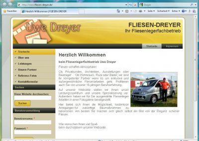 Webseite für Fliesenlegerfachbetrieb Uwe Dreyer