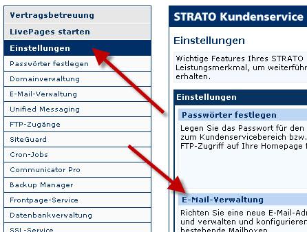 Mailverwaltung bei Strato