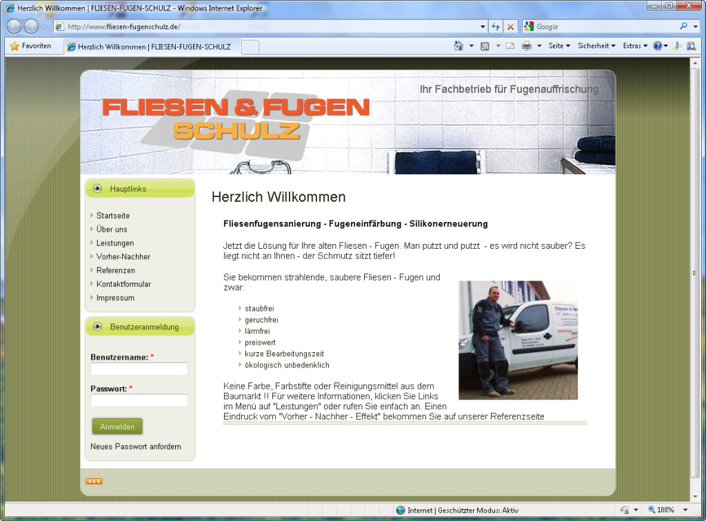 Webseite der Firma Fliesen & Fugen Schulz › Active-Media-Production
