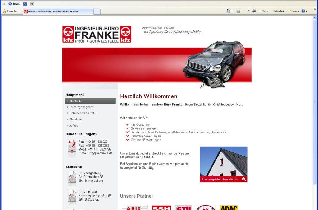 Webseite für das Ingenieur-Büro Franke