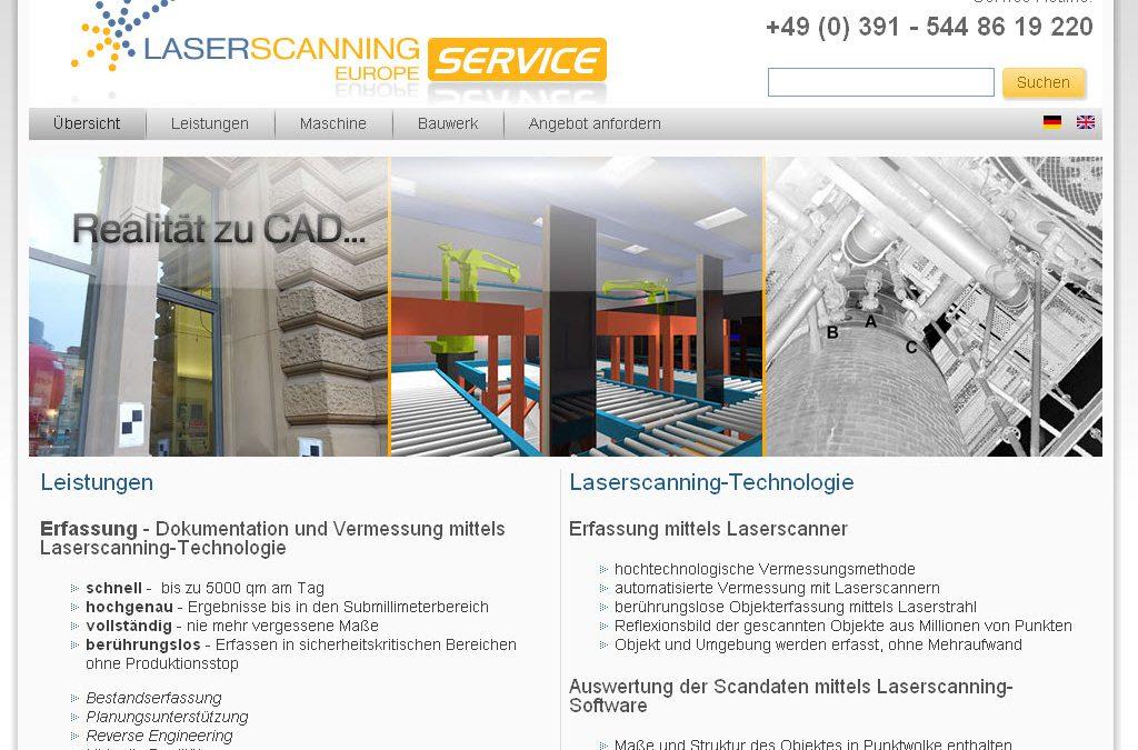 Webseite für Laserscanning-Europe Service