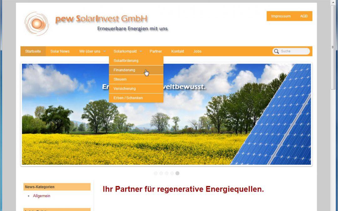 Überarbeitung der Webseite Firma PEW-Solarinvest GmbH