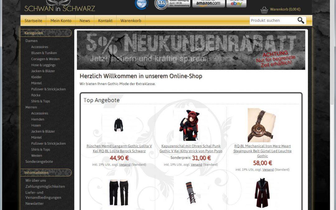 Gothic-Mode Schwan in Schwarz
