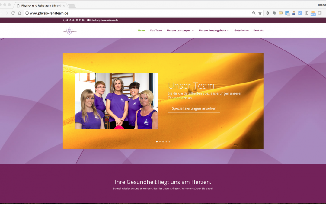Webseite vom Physio und Rehateam in Wolmirstedt